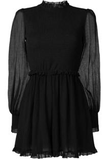 Zimmermann Sheer Sleeve Playsuit - Preto