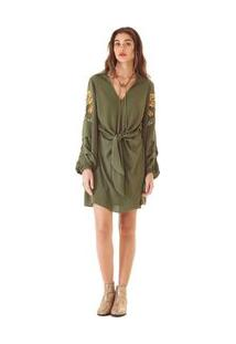 Vestido Curto Decote V Bordado Verde P