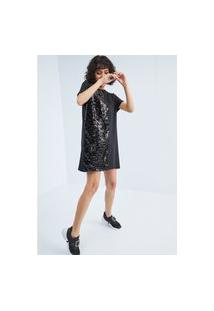 Vestido Reto Com Paetê Lança Perfume Vestido Preto
