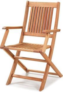 Cadeira Dobrável Com Braços Madeira Eucalipto Jatobá