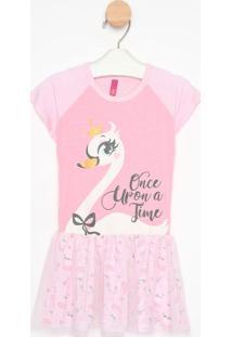 Camisola Cisne Com Tule - Rosa Claro & Brancapuket