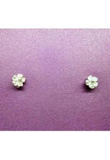 Brinco Floral Mini - Feminino-Prata