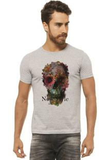Camiseta Joss - Caveira Rosas - Masculina - Masculino-Mescla