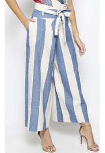 Calça Pantacourt Listrada Com Linho- Off White & Azul Mamorena Rosa