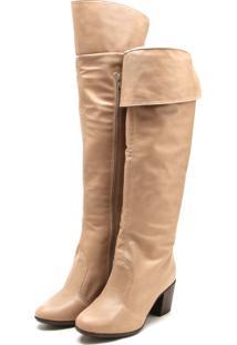 Bota Over The Knee Dafiti Shoes Salto Grosso Bege
