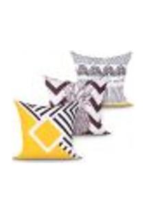 Jogo Capa Almofada Estampada Preta E Amarela Geométrica Kit Com 3 Unidades 45Cm X 45Cm Com Zíper