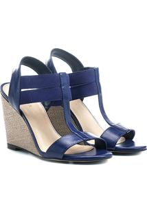 Sandália Anabela Shoestock Elástico Feminina - Feminino-Azul