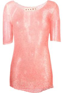 Marni Suéter Translúcido De Tricô - Rosa