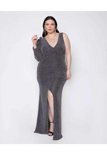 Vestido Almaria Plus Size Pianeta Longo Lurex Prat