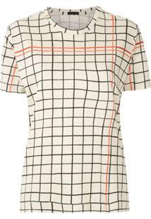 Osklen Blusa Quadriculada Mangas Curtas - Neutro