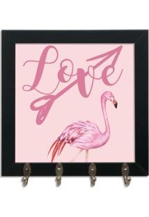Quadro Oppen House Porta Chaves 24X24Cm Frases Love Decorativo Chaveiro Moldura Preta