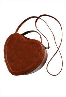 Bolsa Line Store Leather Coração Couro Whisky Rústico