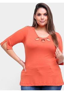 Blusa Naiff Decote Recortes Plus Size Feminina - Feminino-Laranja