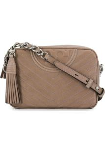 Tory Burch Bolsa Transversal Fleming Chevron Destroyed - Neutro