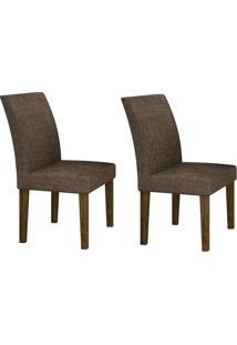 Conjunto Com 2 Cadeiras Olímpia Ipê E Linho Marrom