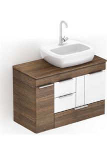 Gabinete Para Banheiro Em Mdf Com Cuba Fit 80X38Cm Wengué E Branco