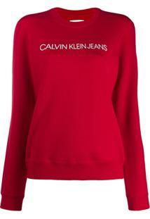 Calvin Klein Jeans Blusa De Moletom Com Logo - Vermelho