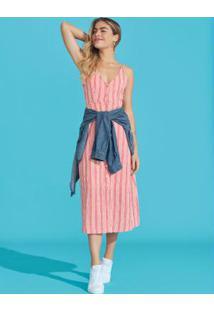 Vestido Rosa Midi Listrado