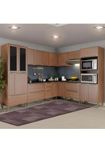 Cozinha Compacta 19 Portas Com Tampo E Pés 5461 Nogueira/Malt - Multimóveis