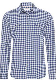 Camisa Masculina Flanela Xadrez Manga Longa - Azul E Branco