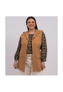 Colete Alongado Com Cinto E Bolsos Curve & Plus Size | Ashua Curve E Plus Size | Marrom | Gg