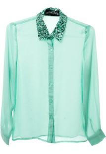 Camisa Com Gola Bordada - Feminino-Verde