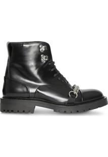 Burberry Link Detail Leather Lace-Up Ankle Boots - Preto