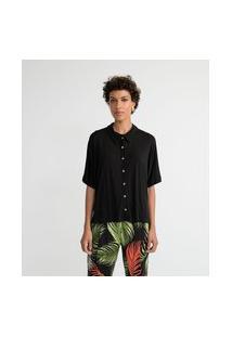 Camisa Manga Curta Em Viscose Sem Estampa   Marfinno   Preto   G