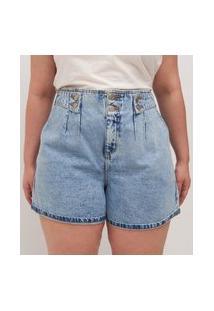 Short Jeans Liso Com Martingale No Cós Curve E Plus Size Azul