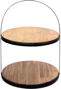 Prateleira Com 2 Andares- Marrom & Preta- 31X31X39,5Decor Glass