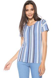 Blusa Cativa Listrada Branca/Azul - Kanui
