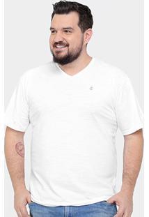 Camiseta Tigs Flamê Plus Size Básica Masculina - Masculino-Branco