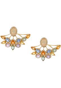 Alessandra Semeoni Par De Brincos 'Ear Jacket' Ouro 18K - Dourado