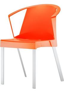 Cadeira Shine Assento Laranja Com Bracos Base Aluminio Cinza - 54178 - Sun House
