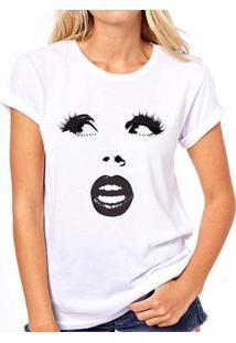 Camiseta Coolest Boca Cílios Nariz Feminina - Feminino