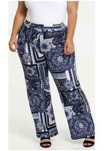 Calça Feminina Estampa Étnica Pantalona Plus Size