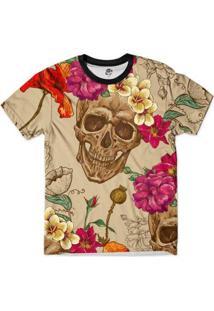 Camiseta Bsc Caveira Coroa Floral Full Print Masculina - Masculino-Bege