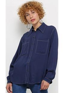 Camisa Manga Longa Colcci Pespontos Bolsos Feminina - Feminino-Marinho