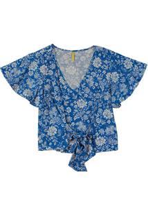 Blusa Com Estampa Floral E Amarração Azul