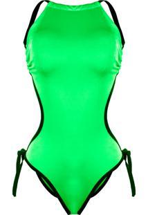 Body Outlet Dri Maio Verão 2019 Neon Blogueira Decote Fechado Tiras Verde