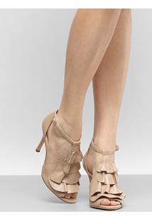 Sandália Couro Shoestock Babados Feminina - Feminino-Bege