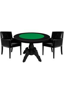 Mesa De Jogos Carteado Redonda Montreal Tampo Reversível Preto Com 2 Cadeiras Liverpool Corino Preto Liso - Gran Belo