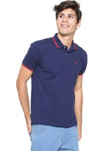 Camisa Polo Polo Wear Reta Listras Azul-Marinho