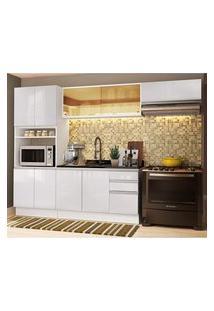 Cozinha Completa Madesa Acordes 100% Mdf Com Armário E Balcão (Sem Tampo E Pia) Frentes Branco Brilho Cor:Branco Brilho