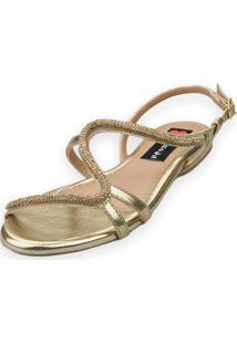 Sandália Rasteira Love Shoes Fivela S Strass Delicado Dourado