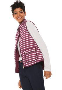 Colete Polo Wear Premium Listrado Roxo/Branco
