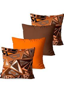 Kit Com 4 Capas Para Almofadas Decorativas Marrom Abstrato 45X45Cm