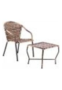 Conjunto Mesa Baixa E Cadeira Para Área Edicula Jardim Biquini Ferro E Fibra Capuccino