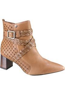 13912b4abb Ankle Boot Caramelo Couro feminina