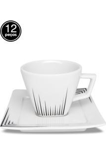 Conjunto 12Pçs Xícaras De Chá Oxford C/Pires Mail Order Nara Venue Branco